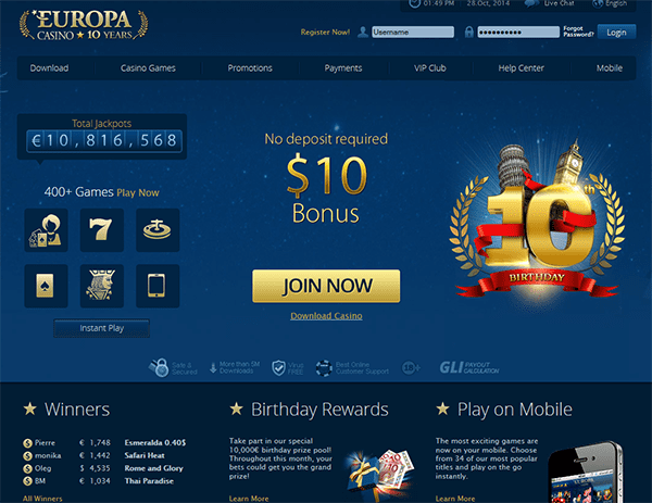 5 - 50 No Deposit Bonus at Supernova Casino
