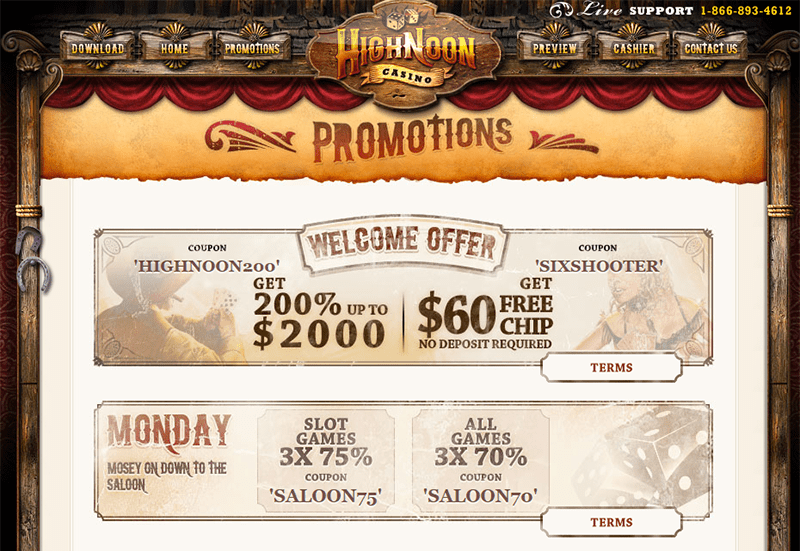 High noon casino coupon codes